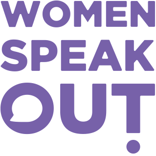 Purple text saying Women Speak Out on white background