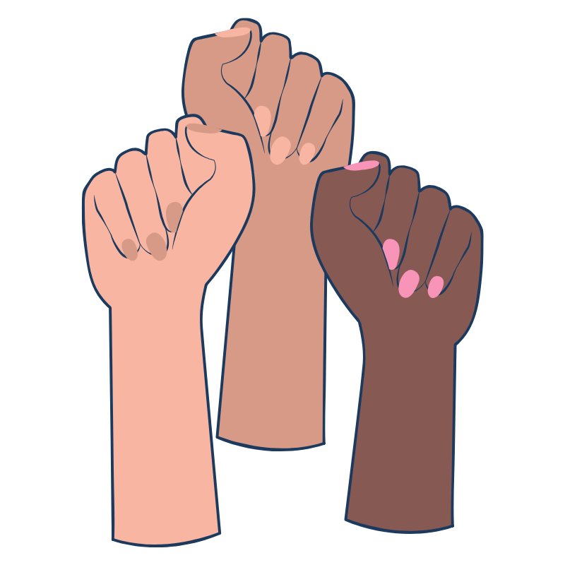 Illustration of three hands with closed fists.