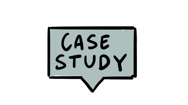 Illustration of case study written in speech bubble